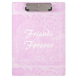 Friends Forever Pink Vintage Floral Clipboard