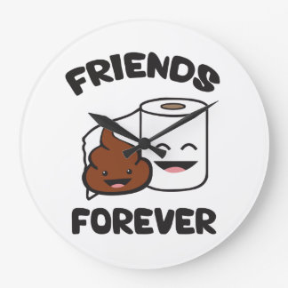 Friends Forever - Poop and Toilet Paper Roll Large Clock