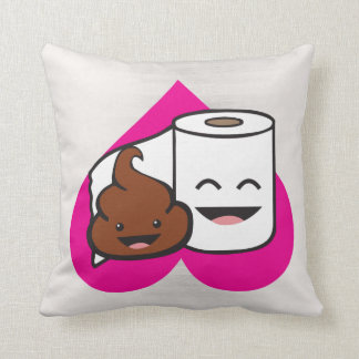 Friends Forever - Poop and Toilet Paper Roll Throw Pillow