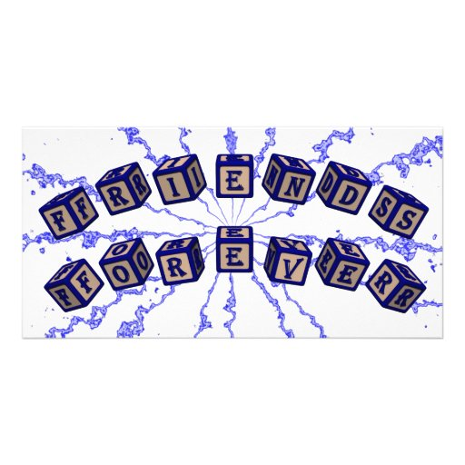 Friends Forever toy blocks in blue Photo Card