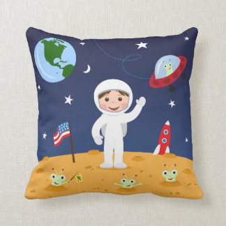 Friends in space, cute kids cartoon custom pillow