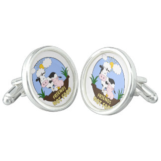 Friends Not Food - Cute Cow, Pig and Chicken Cufflinks