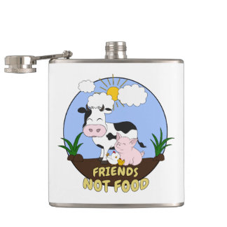 Friends Not Food - Cute Cow, Pig and Chicken Hip Flask