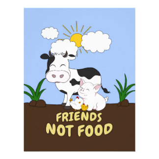 Friends Not Food - Cute Cow, Pig and Chicken Letterhead