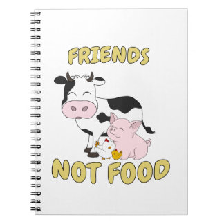 Friends Not Food - Cute Cow, Pig and Chicken Notebook