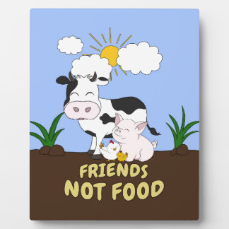 Friends Not Food - Cute Cow, Pig and Chicken Plaque