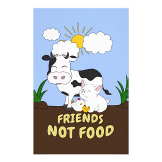 Friends Not Food - Cute Cow, Pig and Chicken Stationery