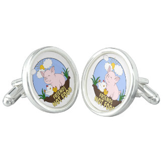 Friends Not Food - Cute Pig and Chicken Cufflinks