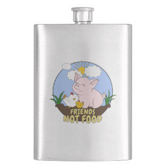 Friends Not Food - Cute Pig and Chicken Hip Flask
