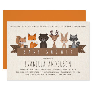 Friends of the Forest Woodland Animals Baby Shower Card