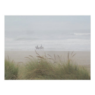 Friends Ride Horses on the Beach Poster