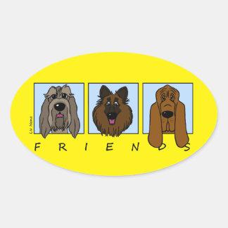 Friends: Spinone Italiano, Tervueren, Bloodhound Oval Sticker