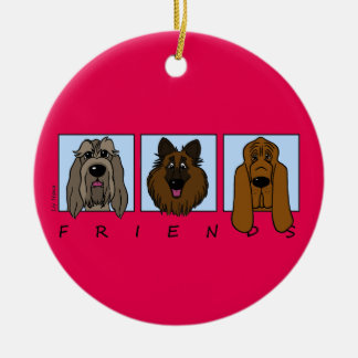 Friends: Spinone Italiano, Tervueren, Bloodhound Round Ceramic Ornament