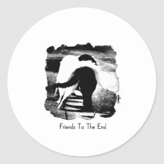 Friends to the End Cats Classic Round Sticker
