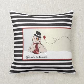 Friends to the End   Christmas Snowmen Throw Pillow