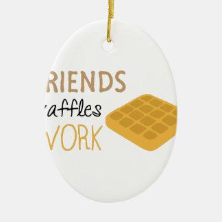 Friends Waffles Work Ceramic Oval Ornament