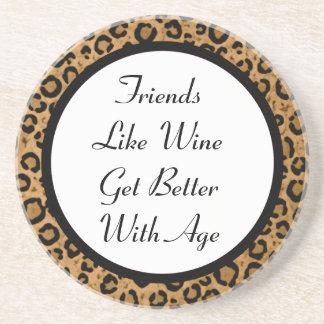 Friends & Wine Leopard Coaster