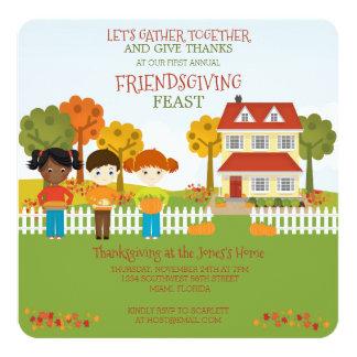 "Friendsgiving Thanksgiving Feast 5.25"" Square Invitation Card"