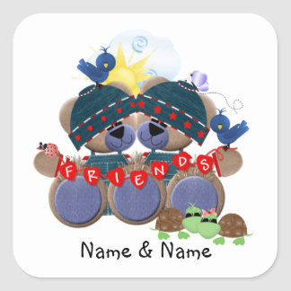 Friendship Bears (personalized) Square Sticker