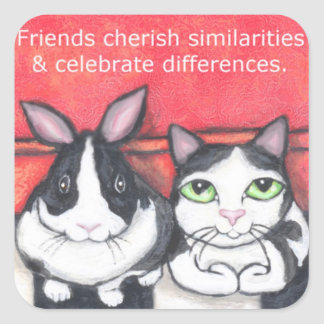 Friendship Bunny & Cat Quote Stickers
