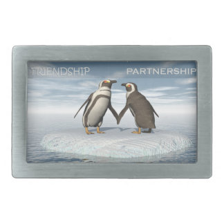 Friendship is essentailly a partnership rectangular belt buckle