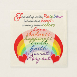 Friendship is the rainbow BFF Saying Design Disposable Napkin