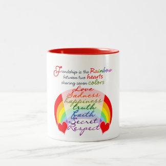 Friendship is the rainbow BFF Saying Design Two-Tone Coffee Mug