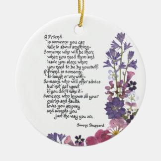 Friendship poem ceramic ornament