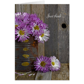 Friendship-purple mums in tin can card