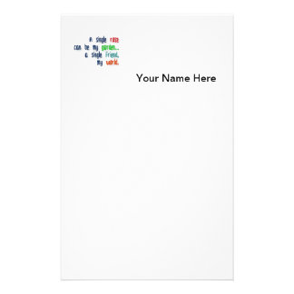 Friendship Quote - A single rose can be my garden… Personalized Stationery