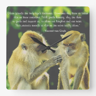 Friendship Quote by Vincent van Gogh Square Wall Clock