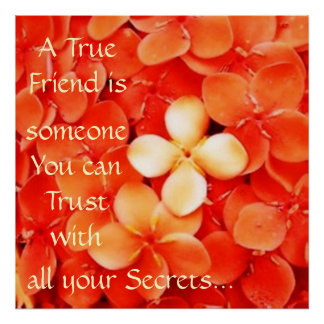 Friendship Quote Tangerine Orange Blossoms Poster