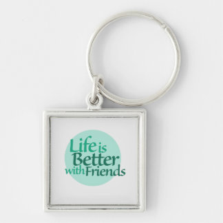 Friendship Silver-Colored Square Keychain