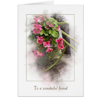 friendship thank you-bicycle with geraniums card