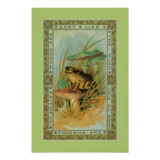 Friendship, Victorian frog (toad), toadstools Poster