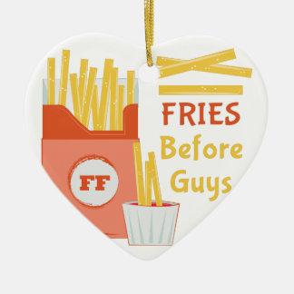 Fries Before Guys Ceramic Heart Ornament