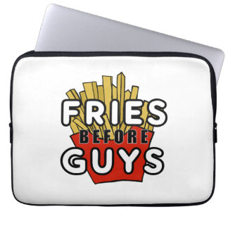 Fries Before Guys funny laptop sleeve