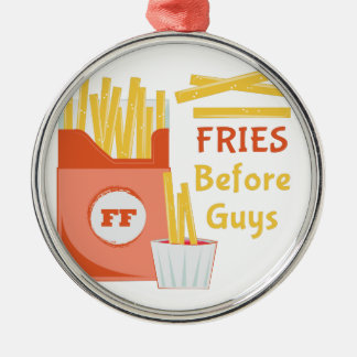 Fries Before Guys Silver-Colored Round Ornament