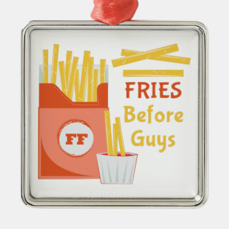 Fries Before Guys Silver-Colored Square Ornament