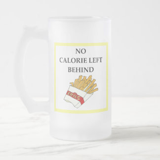 fries frosted glass beer mug