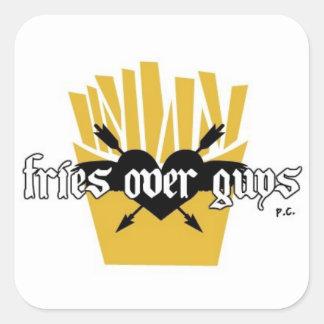 Fries Over Guys Slogan Square Sticker