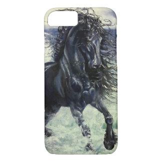 Friesian, black beauty stallion horse, ocean waves Case-Mate iPhone case
