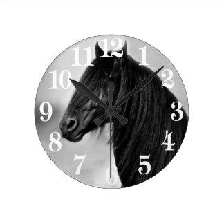 Friesian black stallion horse round clock