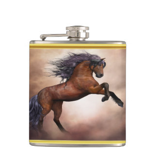 Friesian brown horse rearing up with missy clouds hip flask