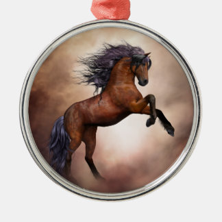 Friesian brown horse rearing up with misty clouds metal ornament