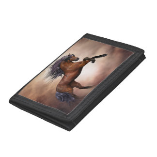 Friesian brown horse rearing up with misty clouds tri-fold wallet