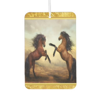 Friesian Draft Horses in a rocky mountain valley Car Air Freshener