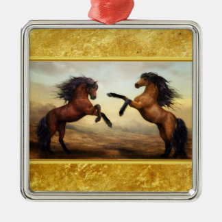Friesian Draft Horses in a rocky mountain valley Metal Ornament