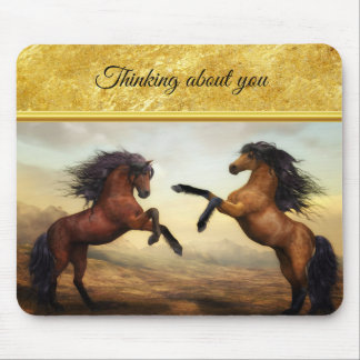 Friesian Draft Horses in a rocky mountain valley Mouse Pad