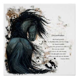 Friesian DreamWalker Horse Poem Poster by Bihrle